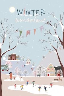 Winter-wunderland-landschaftshintergrund nachts mit menschenfeiern und kindern, die spaß im park im dorf haben. vektorillustration nette karikatur für grußkarte oder banner für weihnachten oder neujahr
