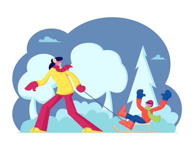 Winteraktivität. glückliche familie mutter und sohn genießen schlittenfahren im winter park mit schneehügeln. karikatur flache illustration