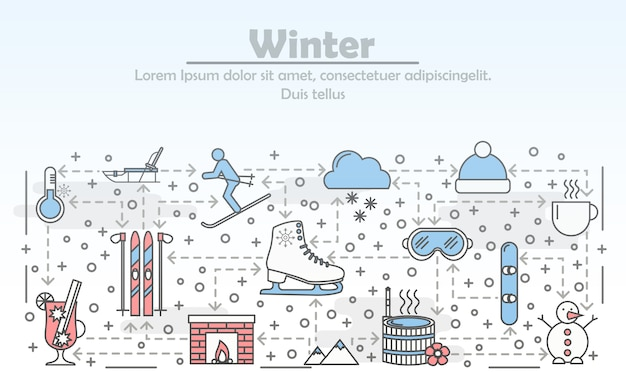 Winteraktivitäten im freien, die flache linie kunstillustration annoncieren