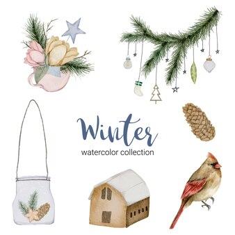 Winteraquarellkollektion, die einen blumenstrauß kennzeichnet