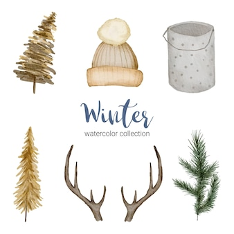 Winteraquarellkollektion mit gegenständen für den heimgebrauch.