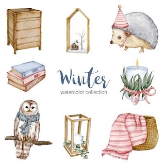 Winteraquarellsammlung mit büchern, igeln, eulen, körben und kerzen