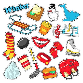Winteraufkleber, abzeichen, patches dekorationsset mit schneemann, hockey und schlitten. gekritzel