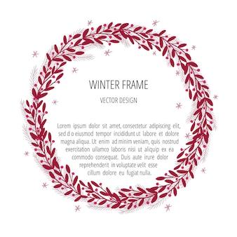 Winterbanner mit botanischem rahmen. mistelkranz, kreisförmiger rahmen mit handgezeichneter illustration der schneeflocken