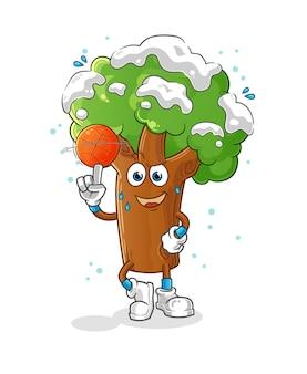Winterbaum, der basketballmaskottchen spielt. karikatur