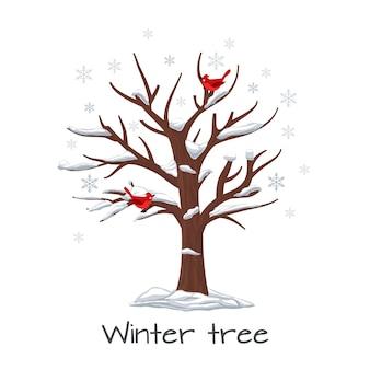Winterbaum mit vögeln. jahreszeitnatur, schnee auf holz, schneeflocke und pflanze, vektorillustration
