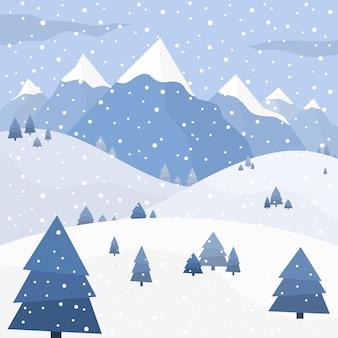 Winterbilder mit schneedecke, schneebedeckten bergen und fichten