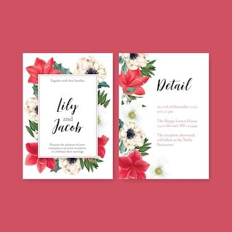 Winterblüten-hochzeitskarte mit verschiedenen blumen
