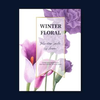 Winterblütenplakat mit pfingstrose, callalilien