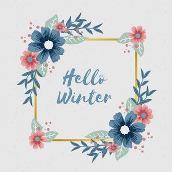 Winterblumen mit leerer fahne