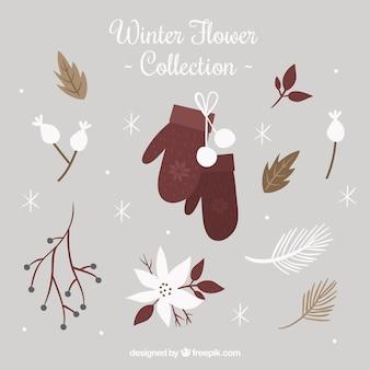 Winterblumensammlung mit fäustlingen