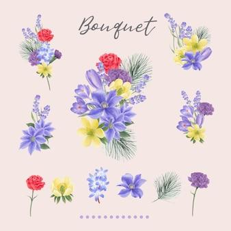 Winterblumenstrauß mit lilien, pfingstrose, lavendel