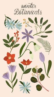 Winterbotanicals auf einem cremigen telefonhintergrund