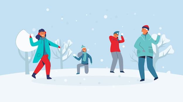 Wintercharaktere, die schneebälle spielen. freudige leute, die spaß im schnee haben. jungen und mädchen werfen schneeball.