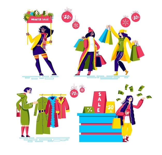 Wintereinkaufsverkaufsset mit weiblichen karikaturfiguren, die kleidung kaufen