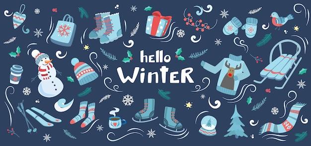 Winterelemente mit schneemanngeschenken, schlittschuhen und warmer kleidung