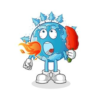 Wintererde essen heißes chilimaskottchen. karikatur