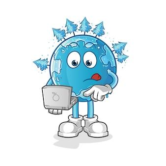 Wintererde mit laptop-maskottchen. karikatur