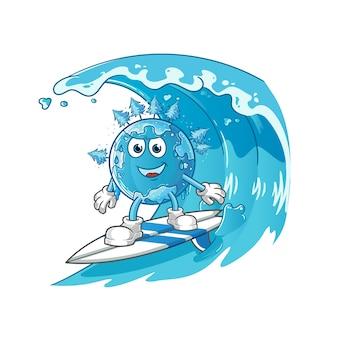Wintererde surft auf dem wellencharakter. cartoon maskottchen