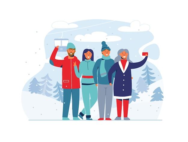 Winterferien menschen im skigebiet. glückliche charaktere, die selfie mit smartphone nehmen. karikaturmann und -frau auf verschneiter landschaft.