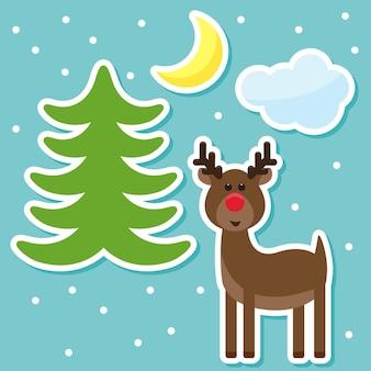 Winterferien mit lustigen cartoon-hirschen vom schlittenfahren des weihnachtsmanns, der schneeflocken mond zeichnet