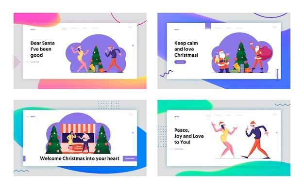 Winterferien saison aktivität, messe und weihnachtsfeier landing page set