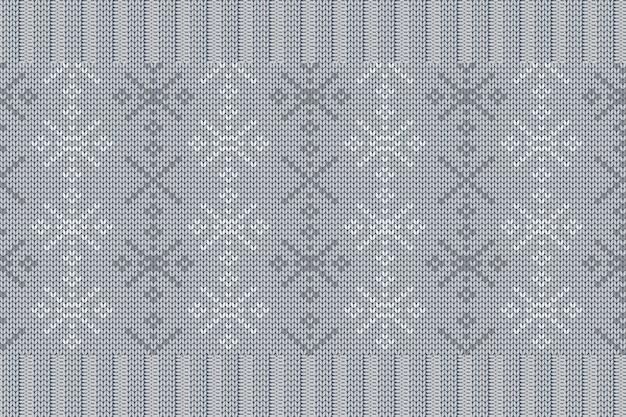 Winterferien-strickmuster für kariertes pulloverdesign. nahtloses muster in grauen farben mit schneeflocken.