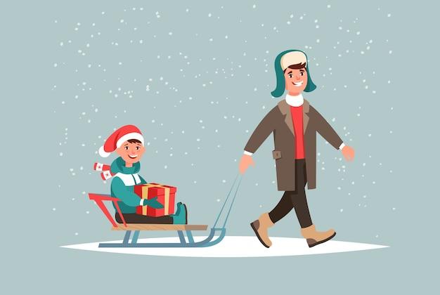 Winterferien. vater und sohn sitzen auf schlitten mit einer weihnachtsgeschenkbox in händen gehen im freien Premium Vektoren
