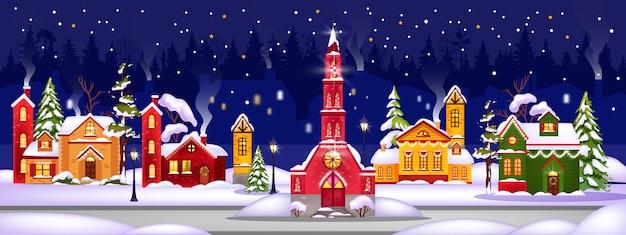 Winterferien-weihnachtshausillustration mit stadt in schneeverwehungen