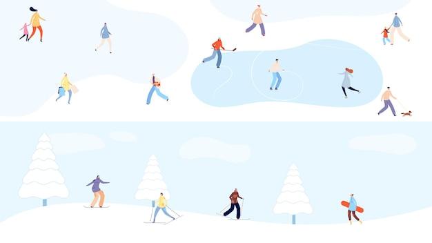 Winterferien. winzige leute, die im snowpark spazieren gehen, skifahren und schlittschuhlaufen. weihnachten und neujahr, verschneiter wald mit sportfrauen-mann-vektorfahnen. snowboard ski winterpark, schneeurlaub illustration