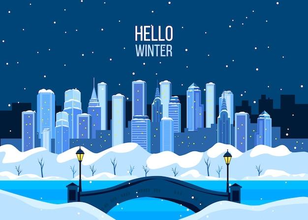 Winterferienstadtillustration mit new yorker wolkenkratzern, schnee, brücke, gefrorenem fluss.