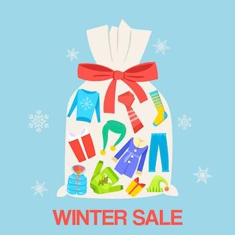 Wintergeschenkverkauf und rabattillustration.