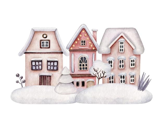 Winterhäuser im schneefall