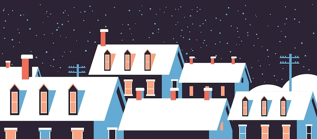 Winterhäuser mit schnee auf dächern nacht schneebedeckte dorfstraße frohe weihnachten grußkarte flache horizontale nahaufnahme vektor-illustration