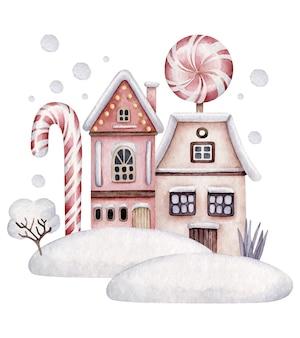 Winterhäuser. weihnachtskomposition mit häusern, süßigkeiten, schnee