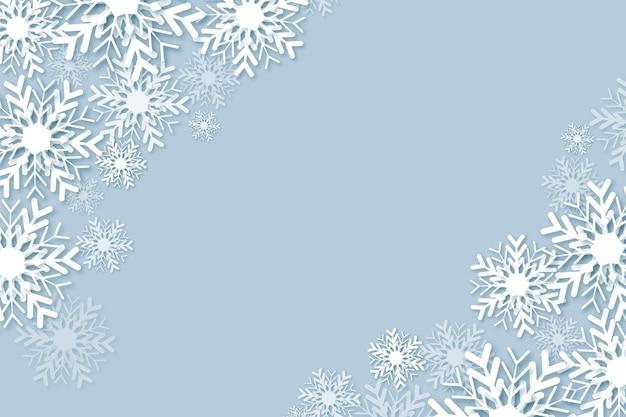 Winterhintergrund im papierstil mit leerem raum