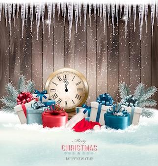Winterhintergrund mit geschenken und uhr