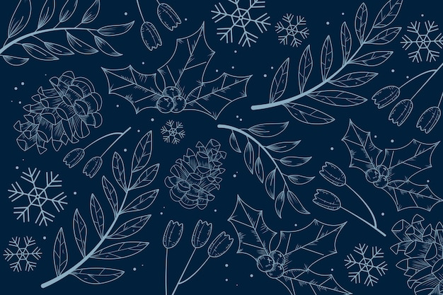 Winterhintergrund mit gezeichneten pflanzen