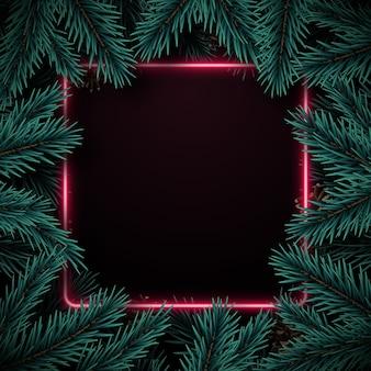 Winterhintergrund mit realistischem tannenbaumrahmen und raum für text.
