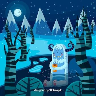 Winterhintergrund mit reizendem monster