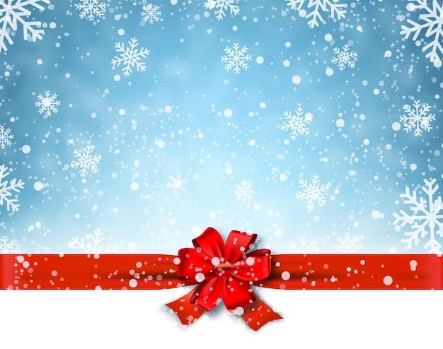 Winterhintergrund mit roter schleife. vektorillustration