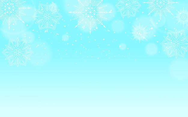 Winterhintergrund mit schnee und bokeh-effekt