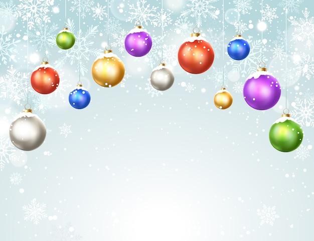 Winterhintergrund mit weihnachtsbällen