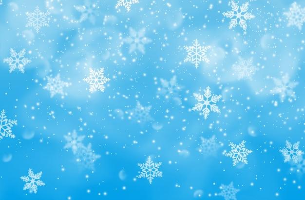 Winterhintergrund, weihnachts- und neujahrsfeiertagshintergrund. frohe weihnachten vorabend saison tapete, feier einladung design-element mit schneefall und dekorative, dekorative schneeflocken