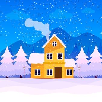 Winterhintergrundkonzept im flachen design