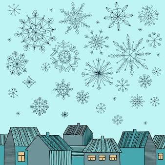 Winterillustration mit häusern und fallenden schneeflocken