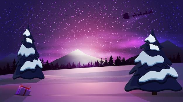Winterkarikaturlandschaft mit purpurrotem sonnenaufgang, schneebedeckten bergen und schattenbild santa claus im himmel