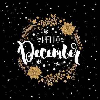 Winterkarte mit der aufschrift hallo dezember