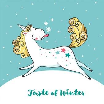 Winterkarte mit niedlichem einhorn und schneeflocken.