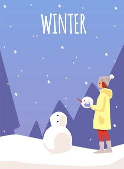Winterkarte oder plakatschablone mit frau oder mädchen, die schneemann machen